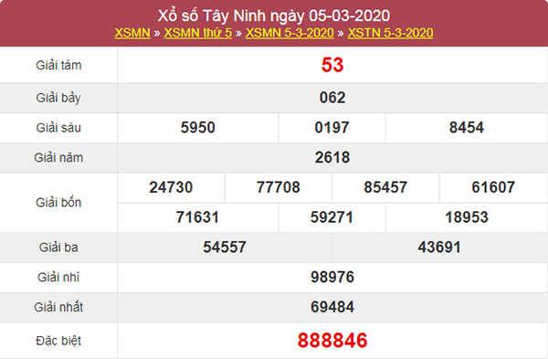 Dự đoán kết quả XSTN 12/3/2020 - Soi cầu Tây Ninh thứ năm