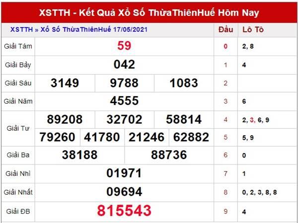 Thống kê xổ số Thừa Thiên Huế thứ 2 ngày 24/5/2021